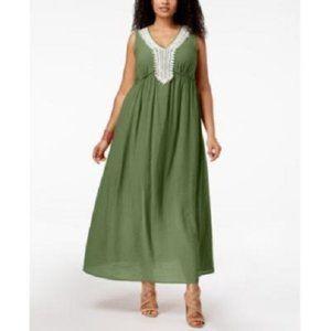 New NY Collection Crochet Trim Maxi Dress